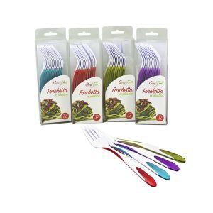 CUCINA&CASA Set 12 pezzi Forchette Bicolore in Plastica
