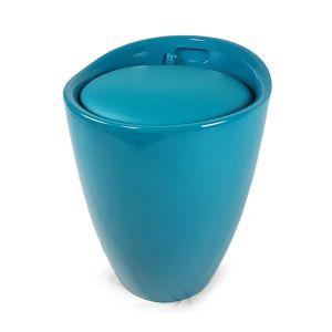 DECOR CASA Pouf Contenitore Azzurro