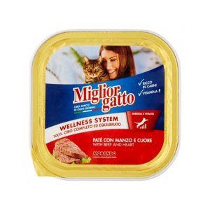 MIGLIOR GATTO Vaschetta Manzo e Cuore 100 gr