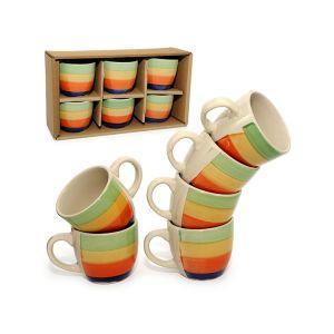 RISPARMIO CASA Set 6 Tazzine Caffè in Ceramica con Arcobaleno 90 cc