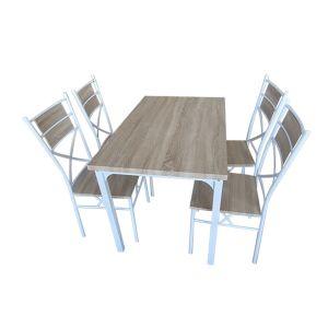 RISPARMIO CASA Set Tavolo +4 Sedie Legno Bianco