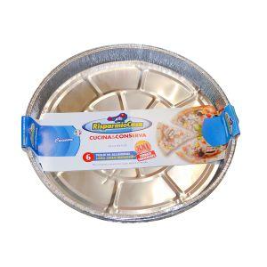 RISPARMIO CASA Teglia Alluminio Rotonda 6 Pezzi XXL