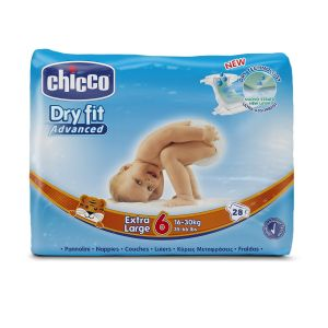 CHICCO Dry Fit Pannolini Extra Large 16-30kg 28 Pezzi - Tg 6