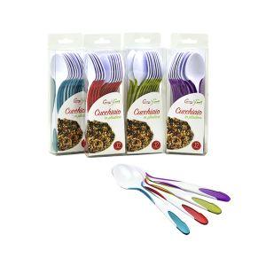 CUCINA&CASA Set 12 pezzi Cucchiai Bicolore in Plastica