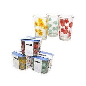 Cucina&Casa Set 3 Bicchieri Vetro 3 Colori Assortiti 220ml