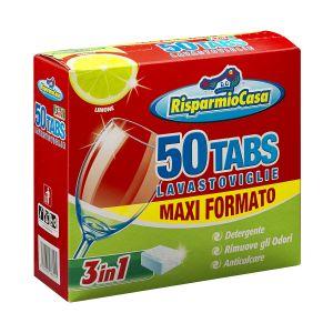 RISPARMIO CASA Detergente per Lavastoviglie 50 Tabs Lime 3 in 1 Maxi Formato