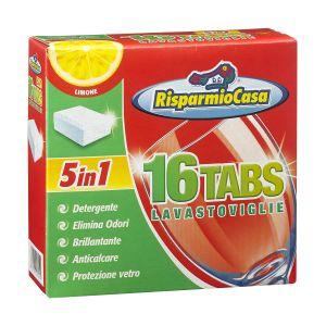 RISPARMIO CASA Detergente per Lavastoviglie 16 Tabs Limone 5in1