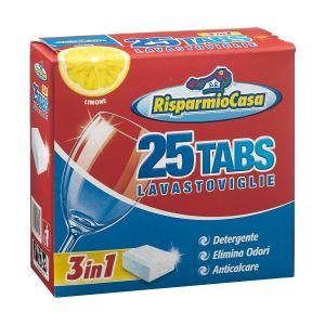RISPARMIO CASA Detergente per Lavastoviglie 25 Tabs 3in1