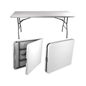 RISPARMIO CASA Tavolo Pieghevole in Acciaio Piano Bianco 180x74x74 cm